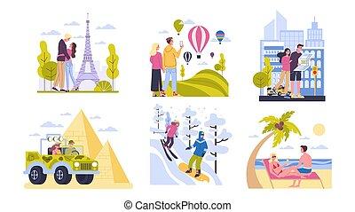 world., 持つこと, 旅行, カップルは休暇をとる, 観光事業, のまわり, 考え, 幸せ, concept.