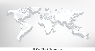 World 3d Map Digital Technology Background