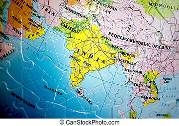 World 3D Puzzle: India - World 3d Puzzle close up on India