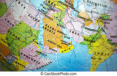 Pictures of Middle East on grey 3D map Map of Middle East on