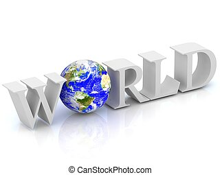 World 3D text with globe. Elements of this image furnished by NASA.