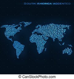 World abstract map. South America accented.
