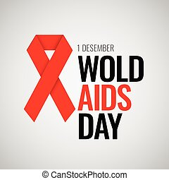 World AIDS Day. 1st December. Aids Awareness Red Ribbon and...