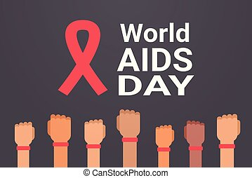 World AIDS day awareness hands with red ribbon sign medical prevention poster horizontal flat