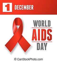 World AIDS Day concept poster with red ribbon of AIDS...