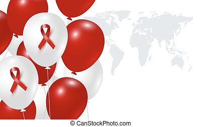 World aids day design of red ribbon and balloon on white background vector illustration