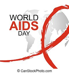 World AIDS Day design of red ribbon and world map on white background with copy space vector illustration