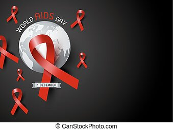 World aids day design of red ribbon and world on black background vector illustration