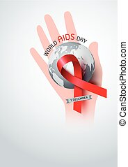World aids day design of red ribbon and world on hand vector illustration