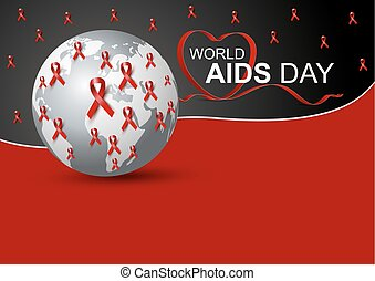 World aids day design of red ribbon and world vector illustration
