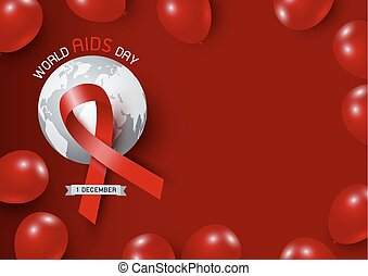 World aids day design of red ribbon and world with balloon on red background vector illustration