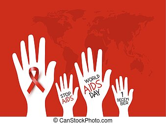 World aids day design of red ribbon on hand vector illustration