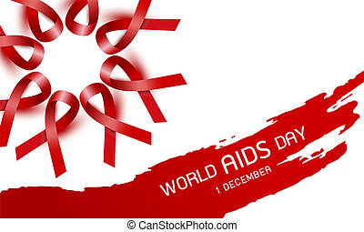 World aids day design of red ribbon on white background vector illustration