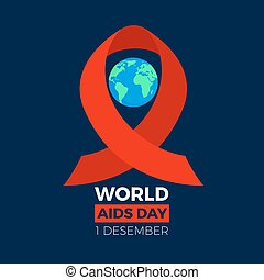 World aids day icon. Earth sphere with the red ribbon loop around