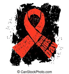 World AIDS Day in grunge style emblem. Red ribbon logo.
