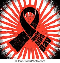 World AIDS Day in grunge style emblem. Red ribbon logo. Spray and scratches. Noise and brush strokes. Awareness of AIDS. Poster template concept for international event on December 1