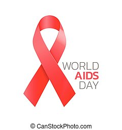 World aids day. Realistic red ribbon symbol isolated on white background. Vector illustration