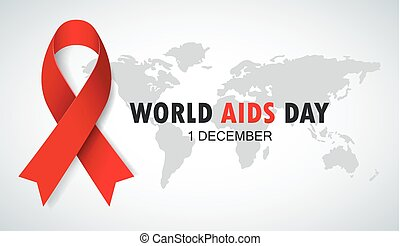World AIDS Day. Red Ribbon Sign - Vector illustration of...