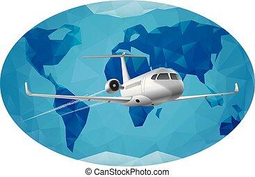 world air journey - air travel around the world by jet plane