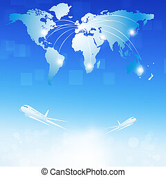 World Air Travel destinations - business illustration of...