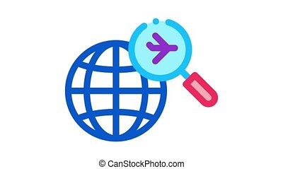 world airplane search Icon Animation. color world airplane search animated icon on white background