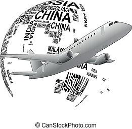 world airplane - illustration set of airplane around the...