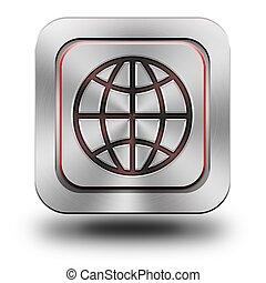 World aluminum glossy icon