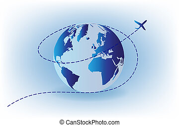 World and airplane travel concept logo