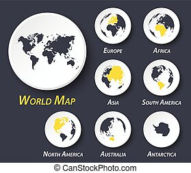 World and continent map on circle .