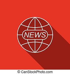 World and global news concept icon isolated with long shadow. World globe symbol. News sign icon. Journalism theme, live news. Flat design. Vector Illustration