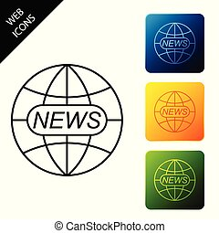 World and global news concept icon isolated. World globe symbol. News sign icon. Journalism theme, live news. Set icons colorful square buttons. Vector Illustration