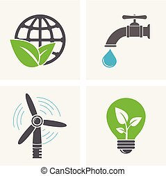 World and leaf, windmill, faucet with water drop and eco light bulb icons