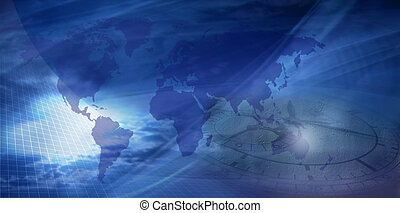 Earth with nice blue background and a clock connotating future or past...