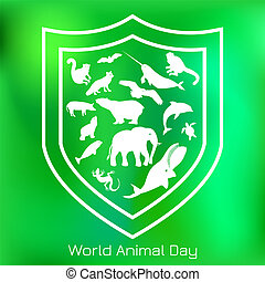 World Animal Day. 4 October. Concept of an ecological holiday. Silhouettes of animals within the shield