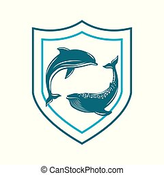 World Animal Day. 4 October. Concept of an ecological holiday. Whale and dolphin in a shield