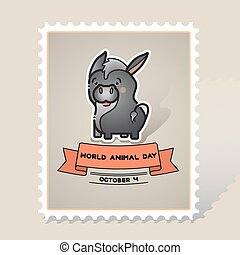 World animal day. Vector card with a cute donkey.