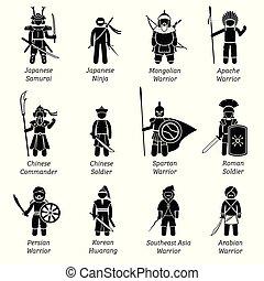 world., antiguo, guerreros, alrededor