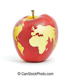 World apple - Red apple world map on white background.