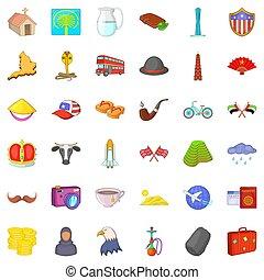 World architecture icons set, cartoon style