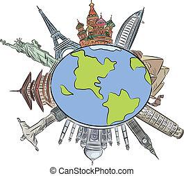 World architecture illustration