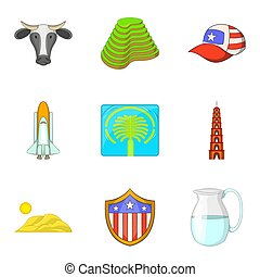 World attraction icons set, cartoon style