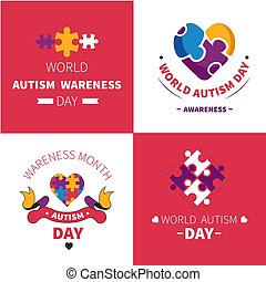 World autism awareness day mental disorder emblems jigsaw or...