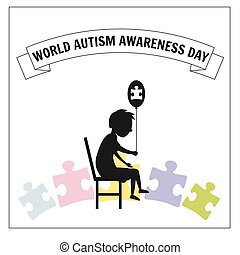 World Autism Day, a little lonely boy sits on a chair, against a background of puzzles, vector, illustration, isolated