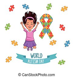 world autism day girl with ribbon puzzle