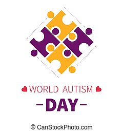 World autism day isolated icon puzzle pieces or jigsaw -...