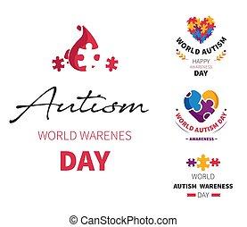 World autism day isolated icons disability socializing...