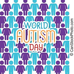 world autism day with background of people silhouettes