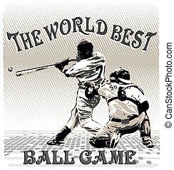world best ballgame - baseball sport vector for T-shirt...