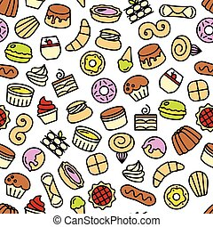 world best desserts and sweets seamless pattern