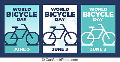 world bicycle Day vector template. Design for banner, greeting cards or Poster. - Vector